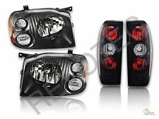Black Housing Headlights & Tail Lights Lamps For 2001-2004 Nissan Frontier