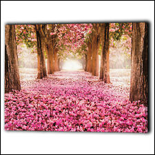 Pink Trees & Flower Petals Walkway Wall Canvas Framed Love - Art Print Gifts Her