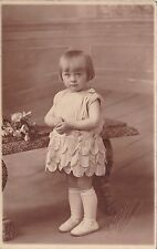 Beautiful Antique RPPC - Cute Little Girl In Flower Petal Style Dress, Mouscron