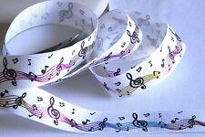 """Foil Music Notes 7/8"""" Grosgrain White Ribbon 5 yds of Singer Note Metallic Shiny"""
