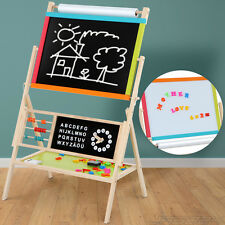 Childrens Kids Magnetic Wooden Blackboard Whiteboard Easel Drawing Board Clock