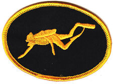 SCUBA DIVER, BLACK w/GOLD BORDER - IRON ON EMBROIDERED PATCH - Diver, Nautical