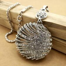 Fashion Silver inlaid crystal shell sweater chain long necklace charm XL214