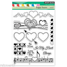 New Penny Black HAPPY HEARTS Clear Stamp Love Friends Music Be Mine Valentines