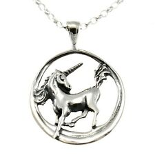 "Sterling Silver Unicorn Pendant with 18"" Chain & Box"