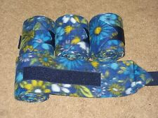NEW set of 4 dark blue with flowers print polo wraps (horse/pony leg wraps)