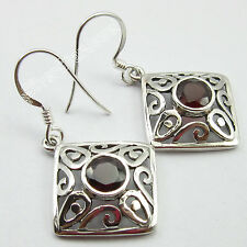 925 Sterling Silver 6 x 6 ROUND CUT GARNET Celtic ART Earrings 3.7 CM 4.5 Grams