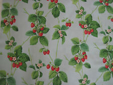 "SANDERSON CURTAIN FABRIC ""Summer Strawberries"" 3.65 METRES STRAWBERRY SKY"