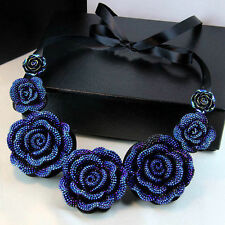 New Occident Style Fashion hot exquisite Blue roses flower Bib Necklace