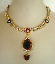 South IndianTraditional Jewellery gold G/R stone design necklace set &earring