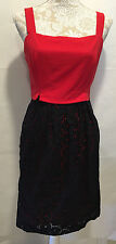 Laundry By Shelli Segal Career Casual Sleeveless Red Black Lace Dress Size 4