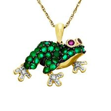 "10 Karat Gold Created Emerald/Ruby & Genuine Diamond  Frog Pendant w/18"" Chain"