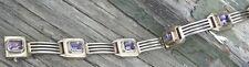 Vintage Sterling Silver Amethyst Art Deco Panel Bracelet Thailand