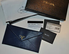 PRADA Vitello Move Leather Busta Con Pattina Envelope Wallet in Blue