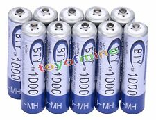 10x AAA 1000mAh 1.2V Ni-MH Rechargeable battery 3A BTY Cell for MP3 RC Toys USA