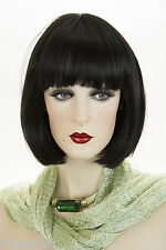 Art Deco Chic Bob Straight 6in Across Bangs Medium Brunette Red Straight Wigs