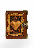 Embossed Heart Brown Leather Journal / Diary / Sketchbook / Notebook / Notepad
