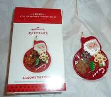 Hallmark Keepsake Ornament Season's Treatings 2013 Santa, candy, plate QX9075