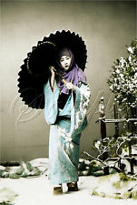 GEISHA GIRL PRINT ASIAN  JAPANESE UMBRELLA TINT PHOTOGRAPH VINTAGE CANVAS ART