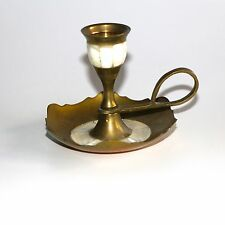 VINTAGE BRASS & MOTHER OF PEARL CHAMBER CANDLESTICK HOLDER MADE IN INDIA
