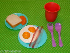 Play Pretend Food BREAKFAST Place Setting Dishes EGGS BACON 9pc LOT Kitchen ++
