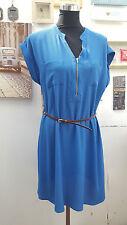 DESIGNER ROYAL BLUE&BURNT ORANGE BELTED ZIP FRONT TUNIC/SHIFT DRESS SIZE 6 TO 22