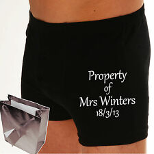 "PERSONALISED Boxer shorts ""PROPERTY OF?"" Or your OWN MESSAGE Wedding Groom gift"