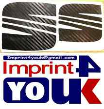 Seat Logo 3D Carbon Fibre In Black Stickers Decal Replacement x2 *Unique*