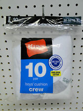 10pr  Boys' Hanes Cushioned Crew Socks Medium 9-2½