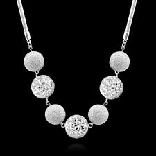 Women Fashion 925 Sterling Silver Plated Ball Pendant Necklace Chain Jewelry