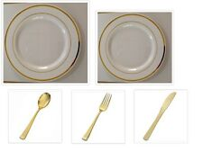 White w/Gold Band China-like  Plastic Plates + Cutlery Set 500 Pieces Wedding