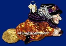 WITCH ON BROOMSTICK OLD WORLD CHRISTMAS GLASS HALLOWEEN THEME ORNAMENT 26051