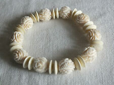 "Beautiful Stretch Bracelet Off White Carved Beads 1/2"" Wide NICE"