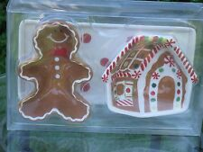 Boston Warehouse Christmas Holiday Gingerbread Man & House Sm Dip Bowls & Tray