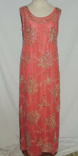 1920-30's Rose Silk Chiffon Gown w Metallic Embroidery / Beads SM b- 35
