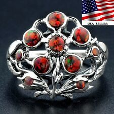 Red Fire Opal 925 Solid Sterling Silver Victorian Style Filigree Ring Sz 8