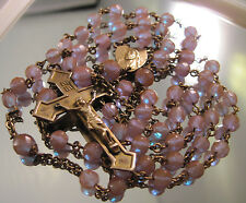 ANTIQUE 1800s SAPHIRET GLASS BEAD GLOWING ROSARY RARE