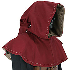 Red Wool Medieval Hood, Knight, Archer, Elven, Monk ,LARP, COSPLAY, Garb, SCA