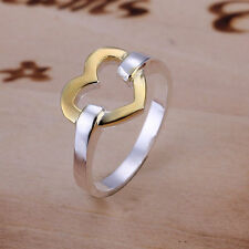 -UK- Silver and Gold Open Heart Ring Love Band Ring Big Promise (092)
