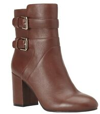 Nine West Get Tuff Round Toe Leather Ankle Boots/Booties, Cognac , Size 8