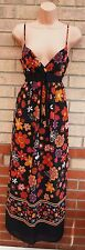 NEXT WOMAN ORANGE BLACK CORAL FLORAL BELTED STRAPPY SUMMER LONG MAXI DRESS 8 S