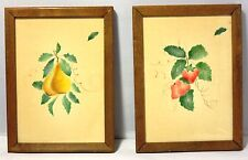 Pair of (2) Painted Velour Art Wall Hangings. Fruit. Framed Originals Vintage
