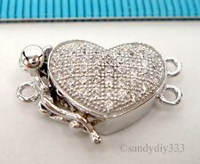 1x  Rhodium plated STERLING SILVER CZ MICRO PAVE HEART 2-strand BOX CLASP #2316