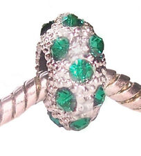 Dark Green Rhinestone May Birthstone Bead fits Silver European Charm Bracelets