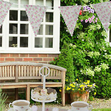 Volants & déversements Rose & Vert Floral Tissu Bunting SHABBY CHIC TEA PARTY - 3,5 m