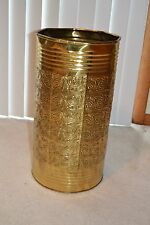 19.5x10 Vintage India Brass 8-Side Raised Ornate Design Vase-Cane-Umbrella Stand