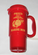 PROUD MARINE MOM W/EGA EMBLEM ON RED INSULATED TRAVEL MUG WITH BLACK LID