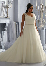 Custom White/Ivory Bridal gown tulle+lace Wedding dress Plus-Size 16-18-20-22-24