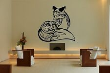 Wall Room Decor Art Vinyl Sticker Mural Decal Tribal Tattoo Fox Beautiful DA059