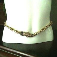 Les Bernard Gold Tone Link Ruby Jewel Eye Serpent Snake Vintage Belt Sash